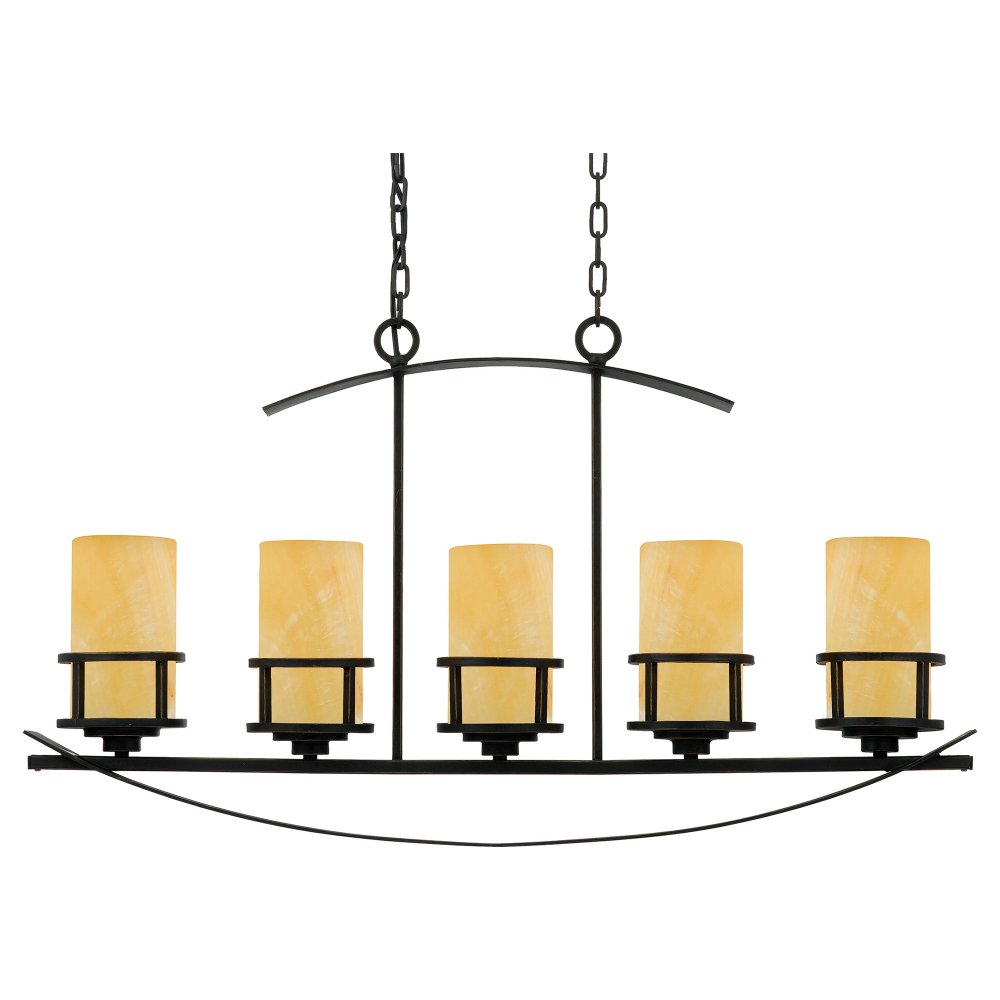 5 light kitchen island pendant light bronze frame with for Island kitchen lighting fixtures