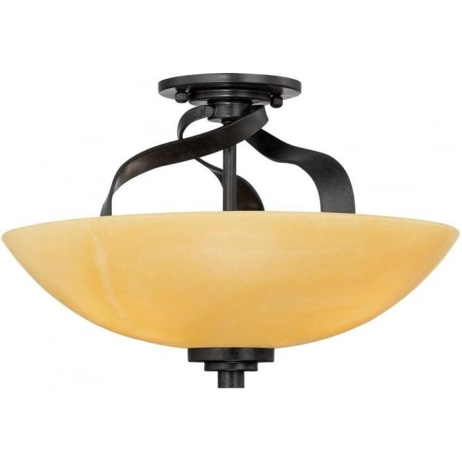 Semi Flush Fitting Uplighter Ceiling Light Bronze With