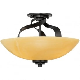 KYLE rustic chic semi-flush uplighter ceiling light with onyz shade