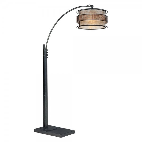 Bronze Arc Floor Lamp With Taupe Mica Shade And Decorative