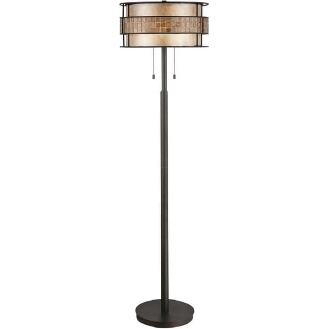 Broadway American Collection LAGUNA dark copper floor lamp with mosaic detail shade