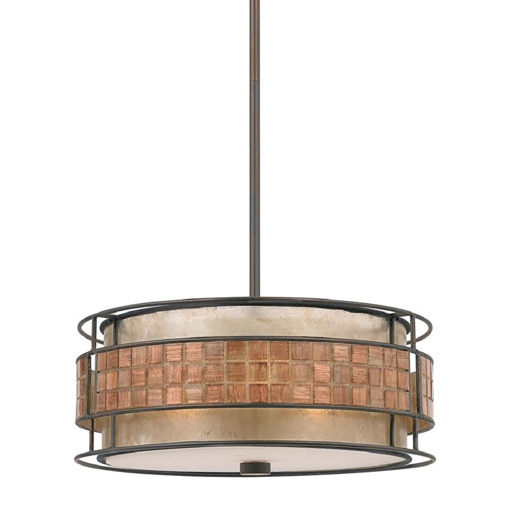 Taupe coloured drum ceiling pendant light with mosaic for American classic lighting