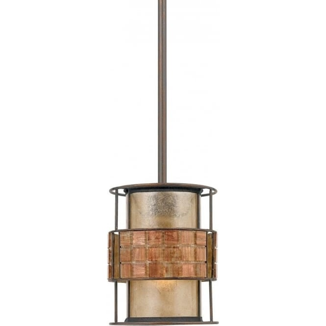 Broadway American Collection LAGUNA mini copper ceiling pendant light with mosaic tile detailing