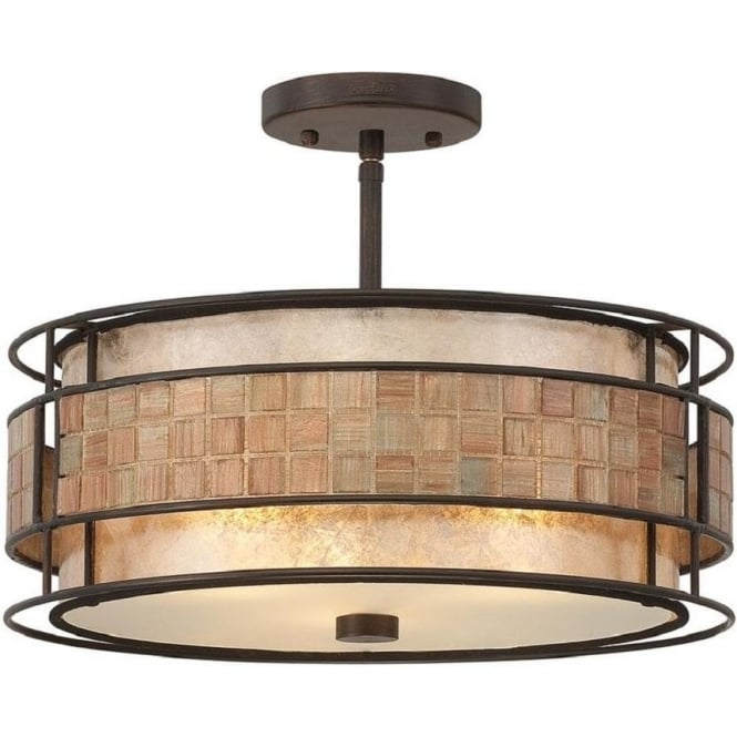Broadway American Collection LAGUNA semi-flush fitting ceiling light with mosaic detail