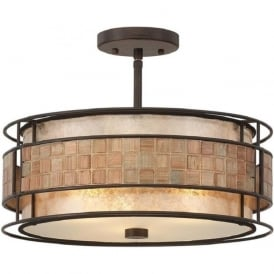 LAGUNA semi-flush fitting ceiling light with mosaic detail