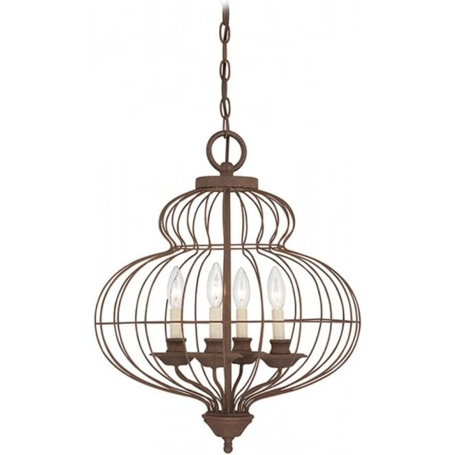 Broadway American Collection LAILA antique rustic bronze ceiling pendant, 4 candle style lights