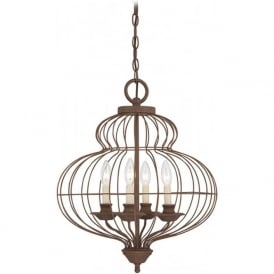 LAILA antique rustic bronze ceiling pendant, 4 candle style lights