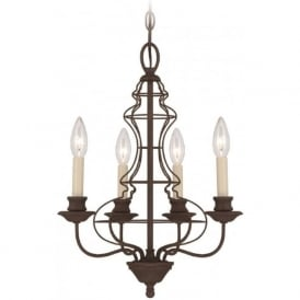 LAILA antique rustic bronze chandelier, 4 candle style lights