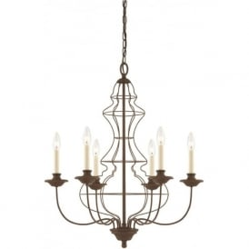 LAILA antique rustic bronze chandelier, 6 candle style lights