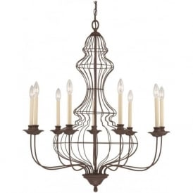 LAILA large antique rustic bronze chandelier, 9 candle style lights
