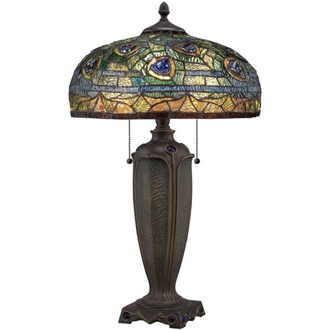 Broadway American Collection LYNCH Tiffany table lamp with peacock feathers on bronze base