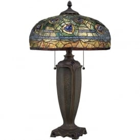 LYNCH Tiffany table lamp with peacock feathers on bronze base