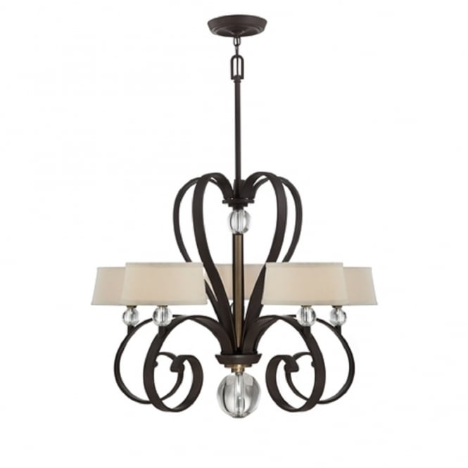 Broadway American Collection MADISON MANOR traditional chandelier with curved bronze frame and white linen shades