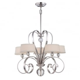 MADISON MANOR traditional chandelier with curved silver frame and white linen shades