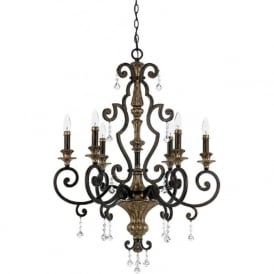 MARQUETTE French heirloom finish chandelier for high ceilings