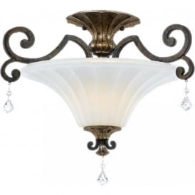 MARQUETTE French style bronze semi-flush uplighter ceiling light