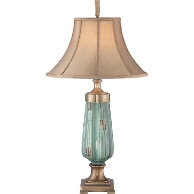 Broadway American Collection MONTEVERDE tall pale green ceramic table lamp with shade