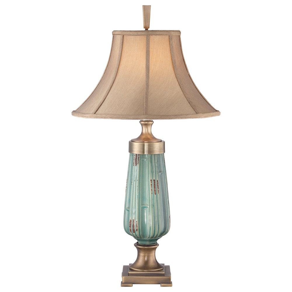 Green Lustre Ceramic Base Table Lamp With Caramel Silken Shade