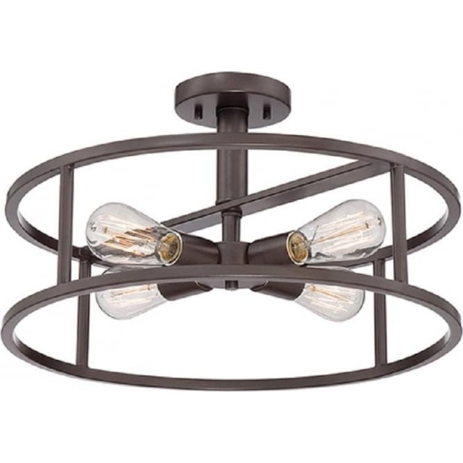 Bronze Open Frame Circular Ceiling Pendant Light with ...