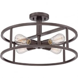 NEW HARBOR circular open frame ceiling light with vintage bulbs