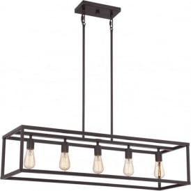 NEW HARBOR long box shaped bronze kitchen island pendant with 5 lights