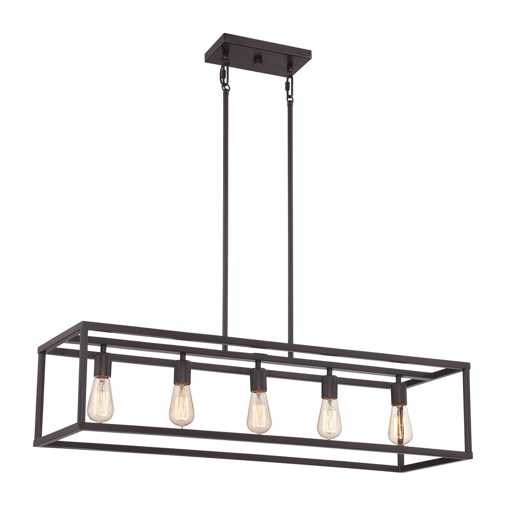 Bronze kitchen island hanging pendant with 5 vintage bulbs for Over island light fixtures