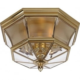 NEWBURY gold polished brass flush mounted ceiling light, IP44