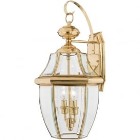 NEWBURY traditional solid brass garden wall lantern - large