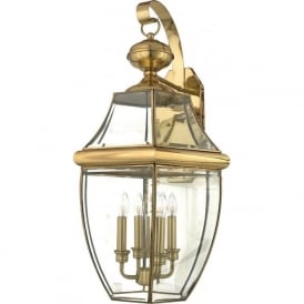NEWBURY traditional solid brass garden wall lantern - xlarge