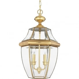 NEWBURY traditional solid brass hanging porch lantern