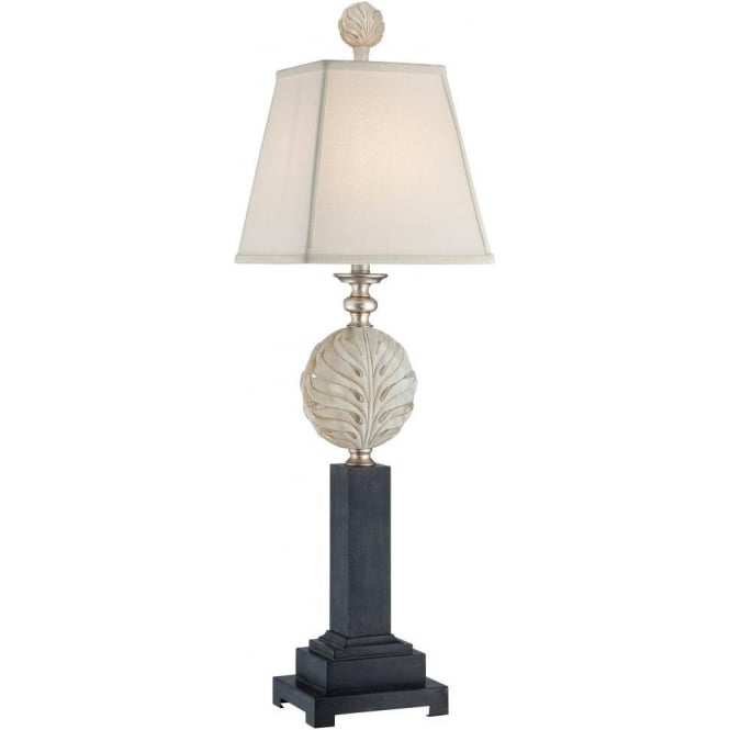 Broadway American Collection PALMETTA black designer table lamp with silver leaf detail