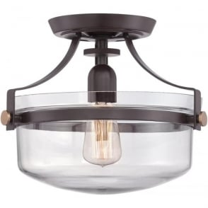 Semi flush fitting low ceiling light nickel clear glass bowl shade penn station semi flush fitting low ceiling light bronze aloadofball Image collections