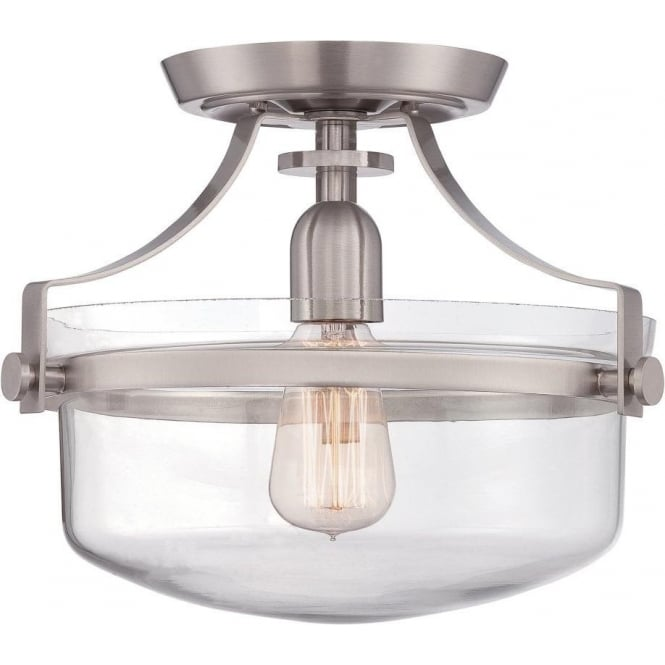 Semi flush fitting low ceiling light nickel clear glass bowl shade penn station semi flush fitting low ceiling light brushed nickel aloadofball Images