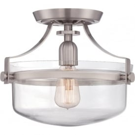 PENN STATION semi-flush fitting low ceiling light - brushed nickel