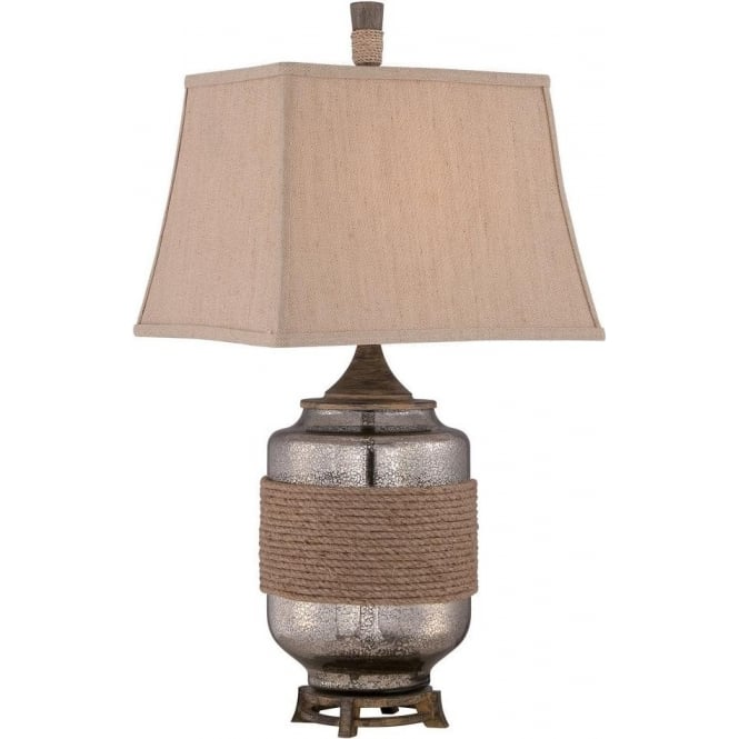 RIGGING Mercury Glass Table Lamp With Rope Detailing