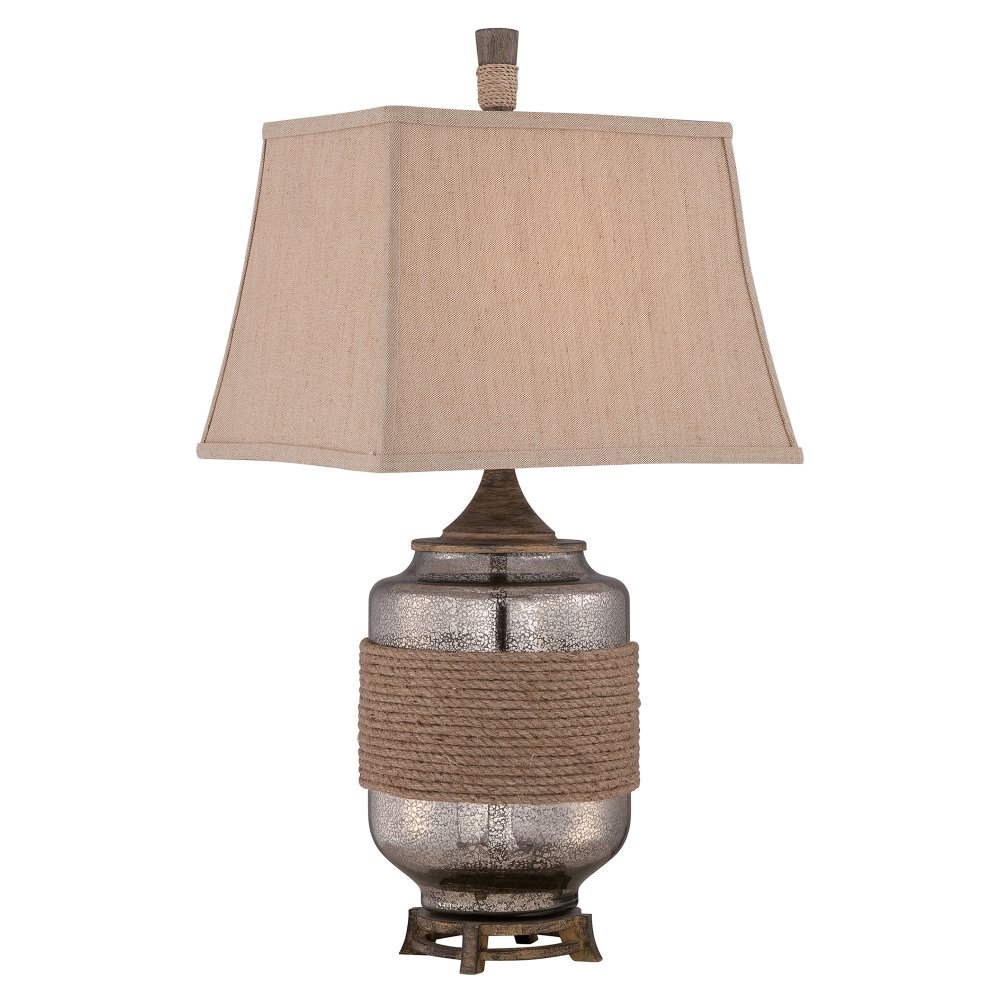 Designer Table Lamp Mercury Glass With Rope Detail And