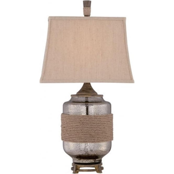 Designer Table Lamp, Mercury Glass with Rope Detail and Linen Shade
