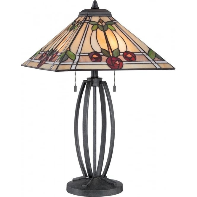 Broadway American Collection RUBY Mackintosh style Tiffany glass table lamp on bronze base