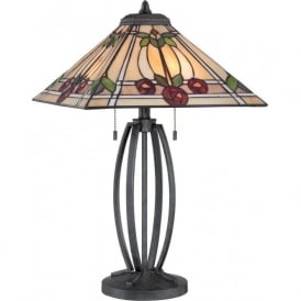 RUBY Mackintosh style Tiffany glass table lamp on bronze base