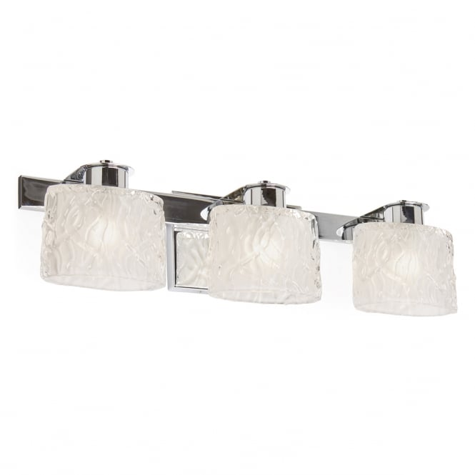 Broadway American Collection SEAVIEW LED chrome bathroom wall light with 3 ripple effect glass shades