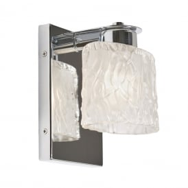 SEAVIEW LED chrome bathroom wall light with ripple effect glass shade