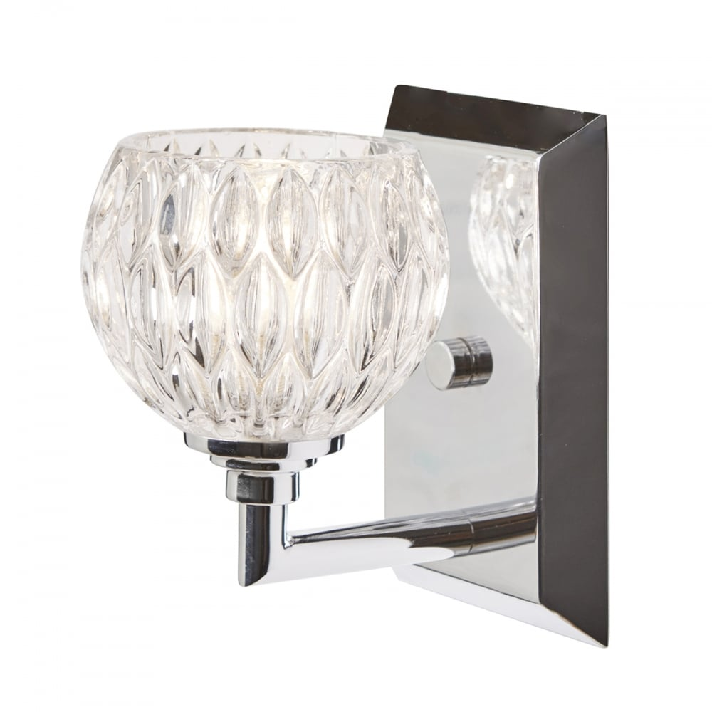 IP44 Chrome Bathroom Wall Light With Cut Glass Shade, Face