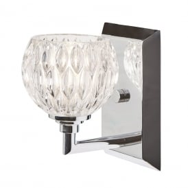 SERENA IP44 LED chrome bathroom wall light with cut glass shade