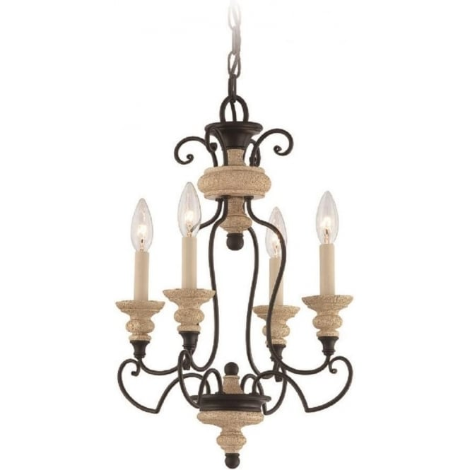 Broadway American Collection SHELBY French inspired chandelier with 4 candle style lights