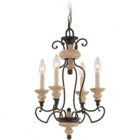 SHELBY French inspired chandelier with 4 candle style lights