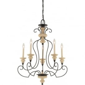 SHELBY French inspired chandelier with 5 candle style lights