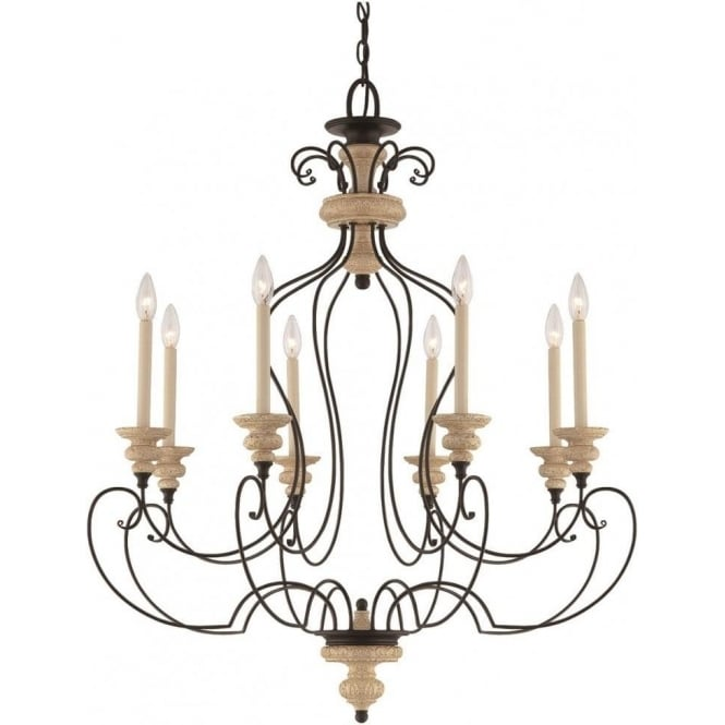 Broadway American Collection SHELBY large French inspired chandelier with 8 candle style lights