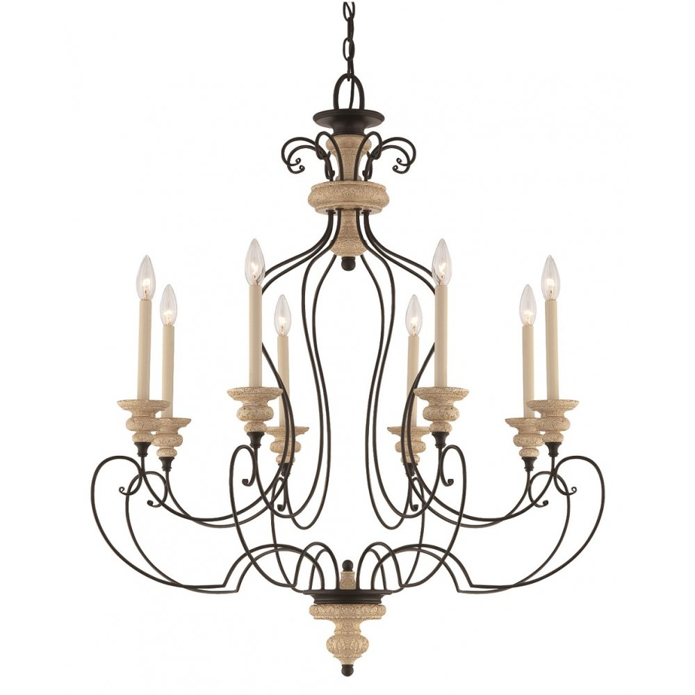 French Country Foyer Chandelier : French inspired country style chandelier with tall