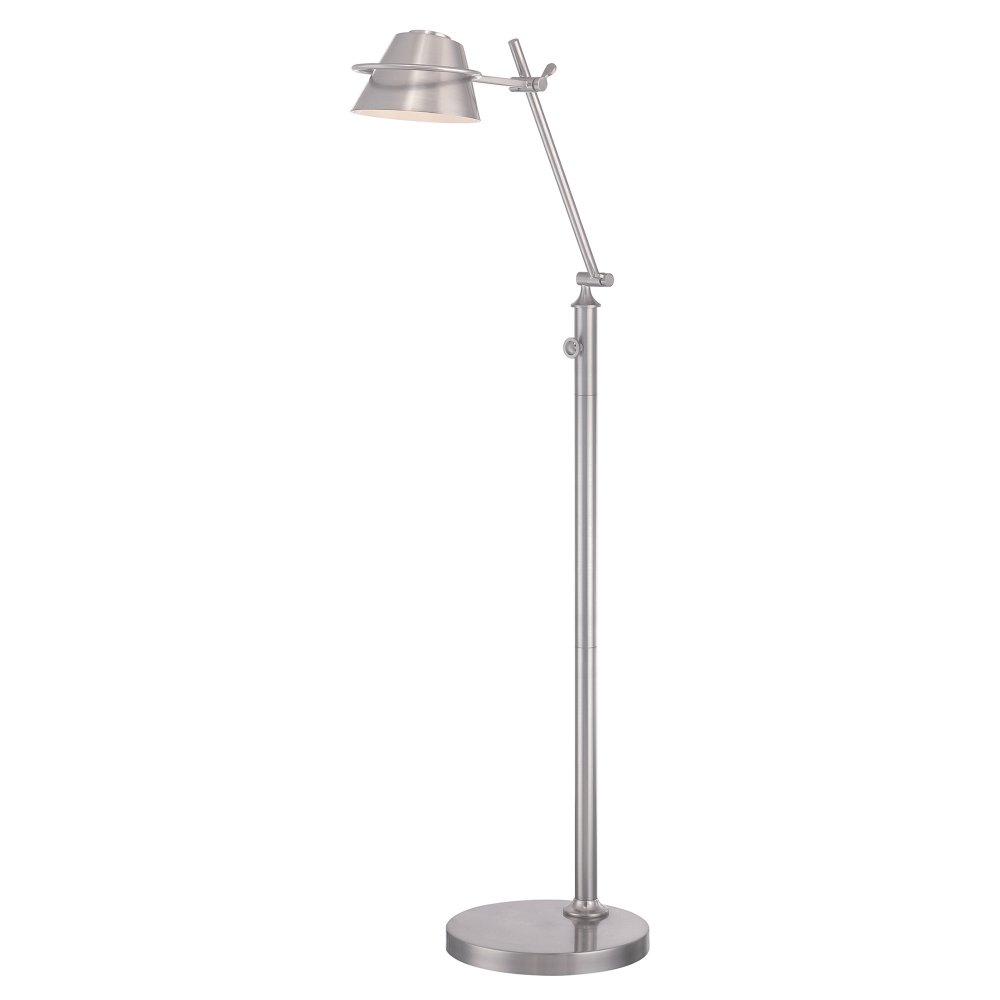 Adjustable led reading floor standing light in nickel with for Retro floor reading lamp