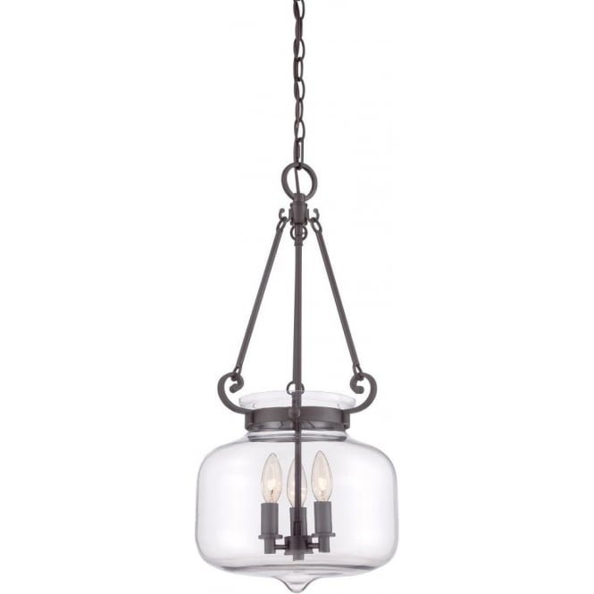 Clear glass bowl inverted ceiling pendant light on bronze frame stewart inverted glass bowl pendant light for high ceilings bronze frame aloadofball Image collections